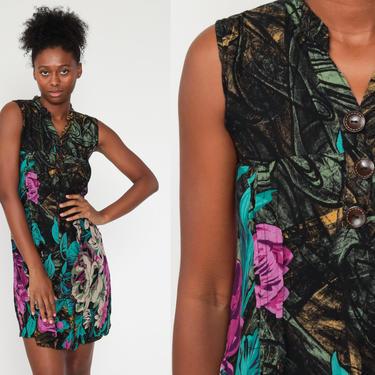 90s Floral Dress Black Turquoise Sleeveless Mini Dress Sundress 1990s Boho Vintage MiniDress Summer Sun Dress Shift Extra Small xs by ShopExile