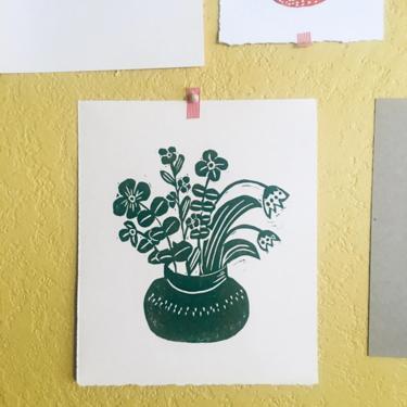 Hand printed floral art, Flowers Wall art, Colorful Home Goods, Fun Flowers,Original carved art by MOONTEAstudio
