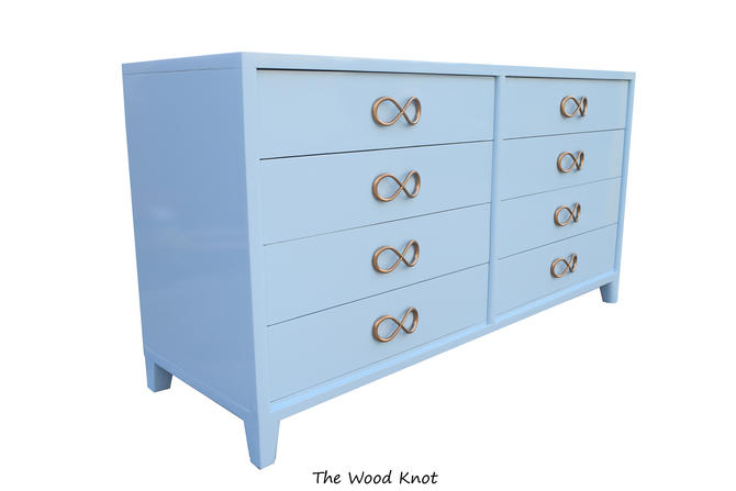 High Gloss Light Blue Dresser With Original Bow Handles