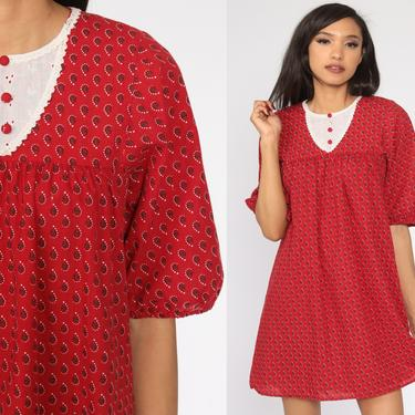 Red Tent Dress 70s EYELET Lace Dress Geometric Mini Summer Festival Hippie Bohemian Vintage Trapeze Boho Caftan Extra Small xs by ShopExile
