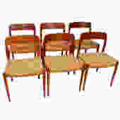 Set of 6 Danish Modern Teak Niels Moller #75 Dining Chairs with Cord Seats