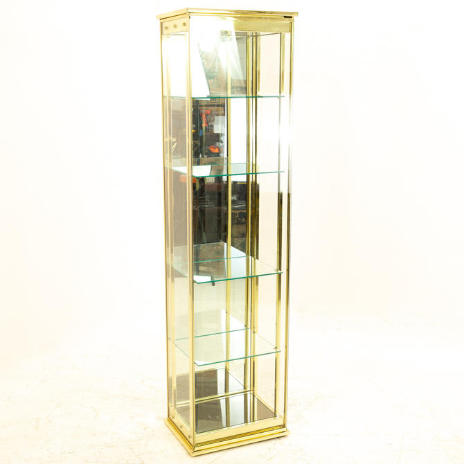 Mid Century Brass and Glass Display Cabinet - mcm by ModernHill