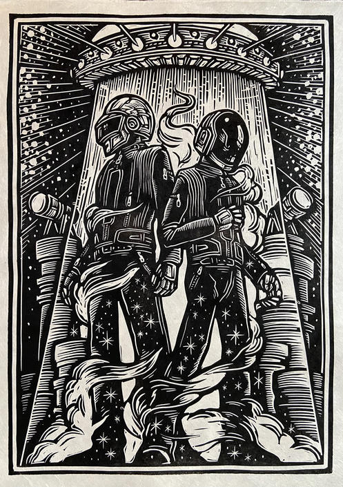 Daft Punk Block Print by WoodcutEmporium
