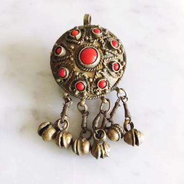 Vintage Coral and Brass Tassel Pendant by TheDistilleryVintage