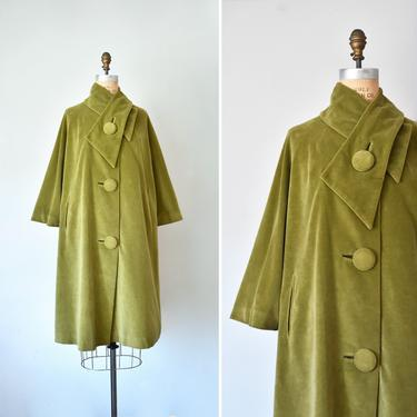Marguerite 1960s green velvet swing coat, plus size vintage, velvet coat, vintage clothing by ErstwhileStyle