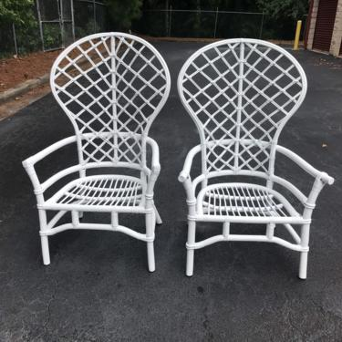 Vintage Ficks Reed style balloon back bamboo chairs by HolbrookBazaar