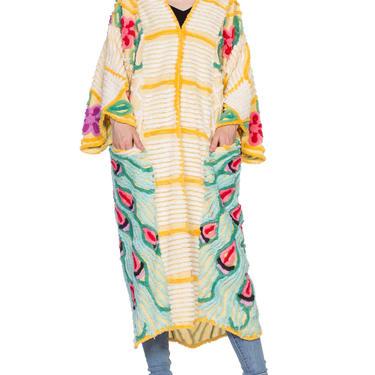 Morphew-lab Chenille Peacock Yellow Kimono Beach Robe Size: M by SHOPMORPHEW