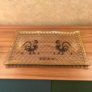Vintage Mid Century Glass Serving Tray – Chicken Design by Porter