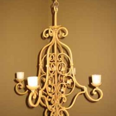 French Painted Iron Candle Chandelier