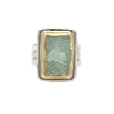 One-of-a-Kind Two-tone Rectangular Aquamarine Ring Set