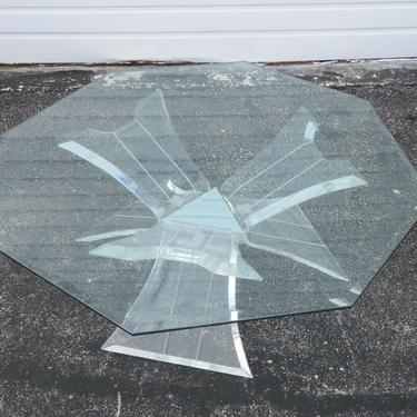 Mid Century Modern Lucite Acrylic and Octagon Glass Top Coffee Table 2217