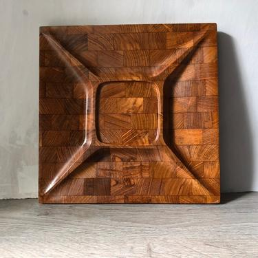 Digsmed Teak Danish Modern Serving Tray Contoured Divided Cheese Board Staved Teak Wood Denmark Appetizers by PKFlamingoVintage