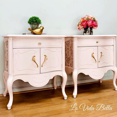 Dainty Pair of French Provincial Side Tables, End Tables, Nightstands, Pink, Vintage, Hand Painted. by LaVidaBellaDesign