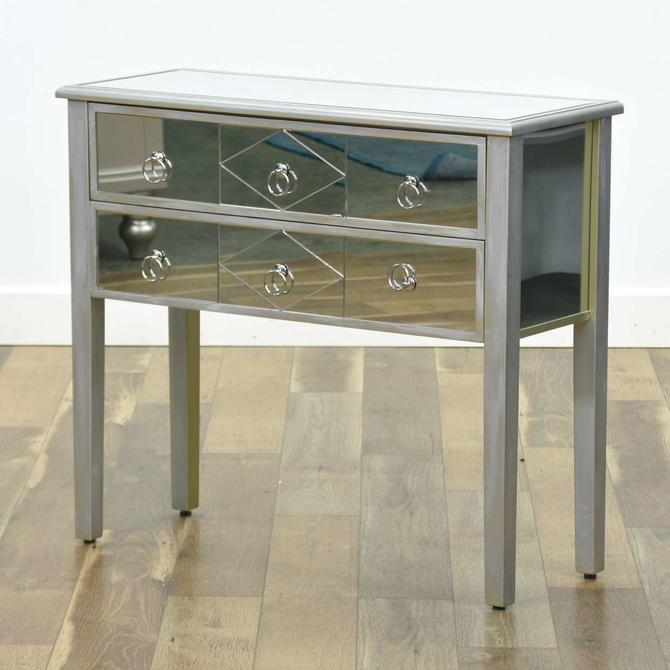 Contemporary Silver Finish Mirrored Front Console Table