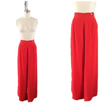 40s Red Rayon Pants / 1940s Vintage High Waisted Bottoms / Large / Size 14 / 34 inch waist by CheshireVintageShop