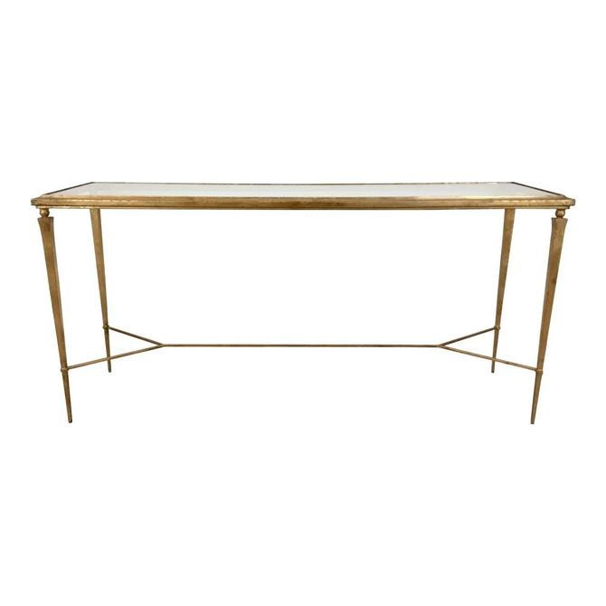 Modern Gold Leaf Finished Metal Console Table