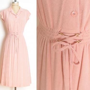 vintage 70s dress pink terry cloth corset lace up hippie shirtwaist midi S clothing by huncamuncavintage