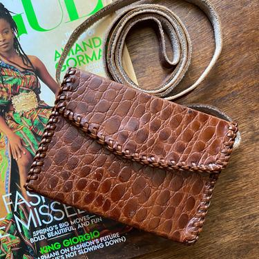 Vintage Brown Leather Mini Croc Embossed Leather Purse Small Crossbody Bag by TheUnapologeticSoul