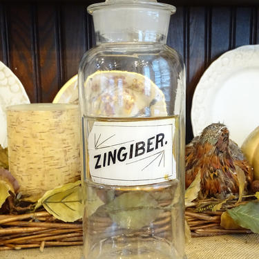 Antique 1891 Pharmacy Bottle, ZINGIBER, Antique Glass Label Apothecary Jar, Herb Canister by exploremag