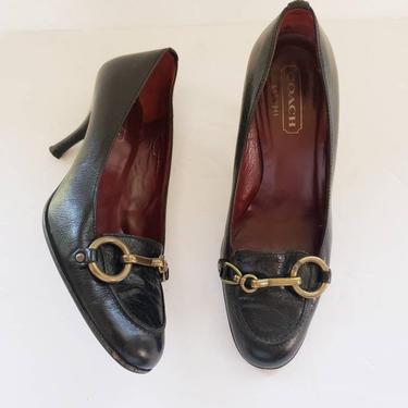 Vintage Coach Black Leather Shoes Pumps Aubry / High Heel Designer Slip On Shoes Brass Chain Horsebit Buckle / 5 1/2 by RareJuleVintage