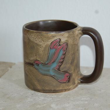 Hummingbirds w/ Lily ~ large Mara Mexico 20 oz. Pottery Mug ~ Mara Chocolate Brown w/ Blue and Pink ~ Pictorial Mug by YesterdayAndTomorrow