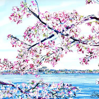 Washington DC Cherry Blossom Jefferson Monument Original Print by Cris Clapp Logan by CrisLoganArt
