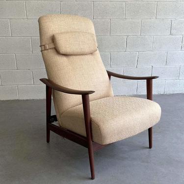 Danish Modern High Back Teak Recliner Lounge Chair by Arnt Lande