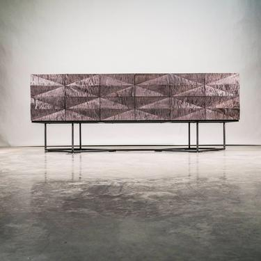 Credenza Modern Faceted Front, Steel Base, Gray Curly Maple Wood, Sideboard, Buffet, Server, Dining Room Storage. by NathanHunterDesign