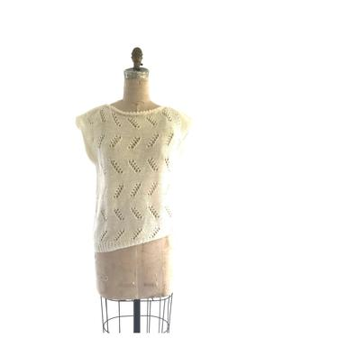 sleeveless sweater | vintage loose knit sweater | 70s ivory sweater by harlowandspring