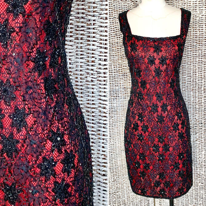 Vintage 90s Beaded Cocktail Dress, All Over Sequins Beads, Lace, Sheath by GabAboutVintage