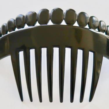 AUGUSTE BONAZ Art Deco Hair Comb, Black Celluloid Hair Comb, Antique French Comb, Flapper Hair Decoration, Hair Ornament by CombAgain