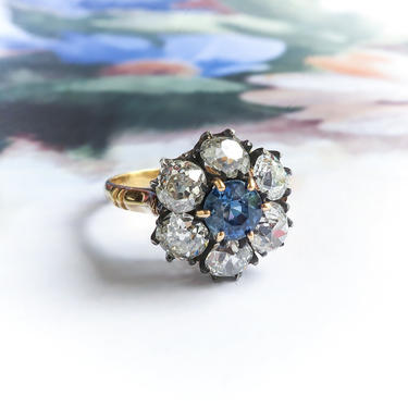 Antique Victorian Natural Blue Sapphire Old Mine Cut Diamond Halo Ring 18K Silver by YourJewelryFinder