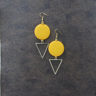 Large yellow earrings, Geometric earrings, African Afrocentric earrings, bold statement earrings chunky earrings, unique Art Deco, gold by Afrocasian