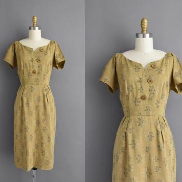 1950s vintage dress   Adorable Moss Green Cotton Print Short Sleeve Summer Day Dress   Small   50s dress by simplicityisbliss