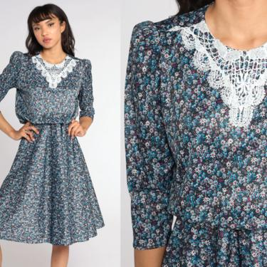80s Floral Dress Midi Puff Sleeve LACE COLLAR Dress Blue Ditsy Flower Print High Waisted Boho Vintage 1980s Medium by ShopExile
