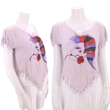80s vintage graphic t shirt S / vintage 1980s punk rock mohawk fun novelty fringe tee shirt by ritualvintage