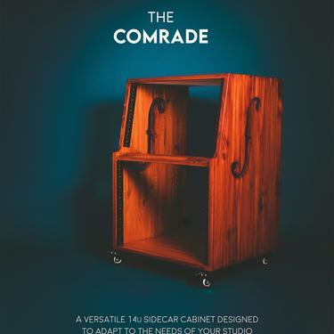"The ""Comrade"" 14u SIDECAR - ventilated audio rack - workstation - wheels - recording studio - cabinet - custom wood - studio furniture 10u by MunstreGlow"
