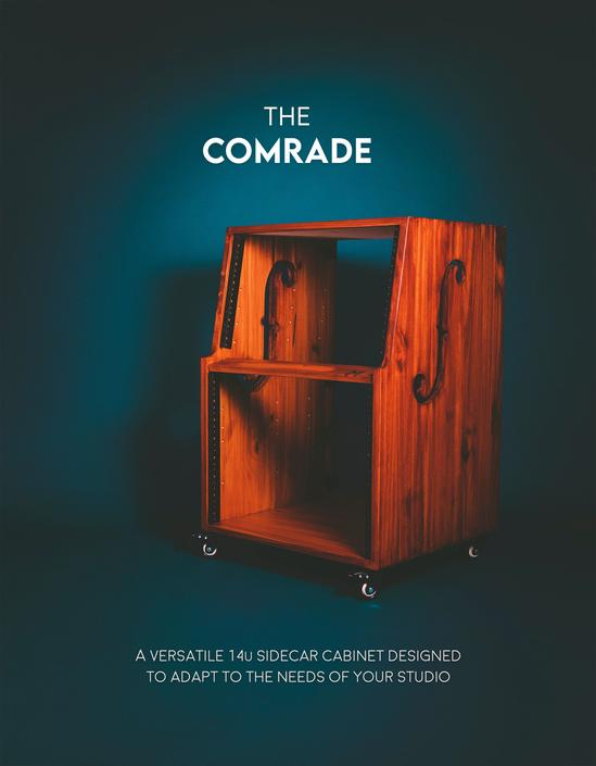 "The ""Comrade"" 14u SIDECAR - ventilated audio rack - workstation - wheels - recording studio - cabinet - custom wood - studio furniture 10u by MunstreGlow"