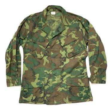 Vintage 1960s Vietnam War ERDL Rip-Stop Camouflage Poplin Shirt / Jacket ~ size M Regular ~ USMC Marine Corps ~ Jungle Coat ~ Stencil ~ by SparrowsAndWolves