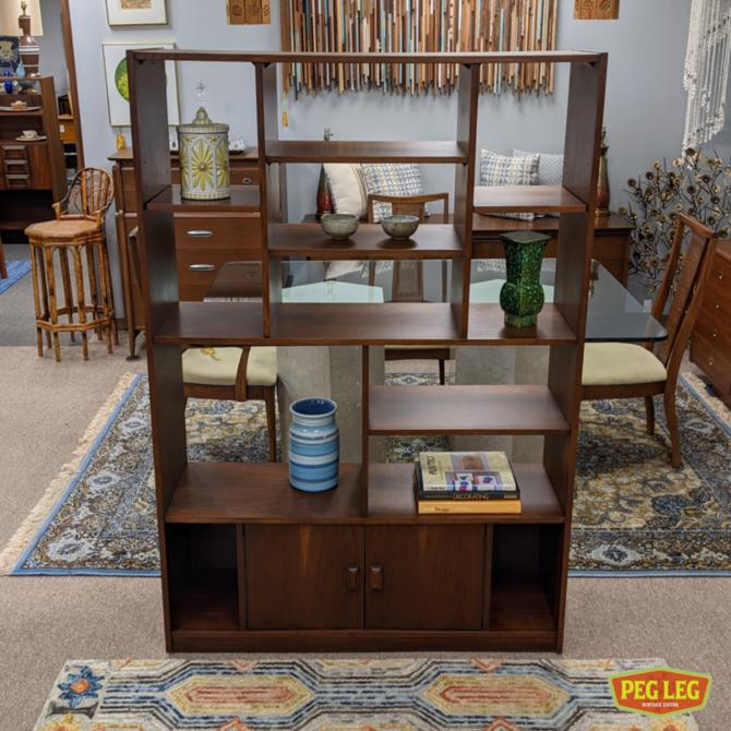 Mid-Century Modern walnut freestanding wall unit / room divider