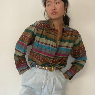 90s woven cotton tapestry blouse / vintage multi colored cotton hand loom hearts daisies shirt blouse   M L by RecapVintageStudio