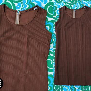 Cute Vintage 60s 70s Brown Ribbed Jumper Vest Dress by RETMOD
