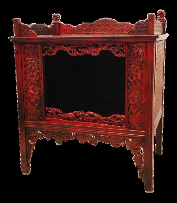 Asian Antique Red Carved Wood Cabinet