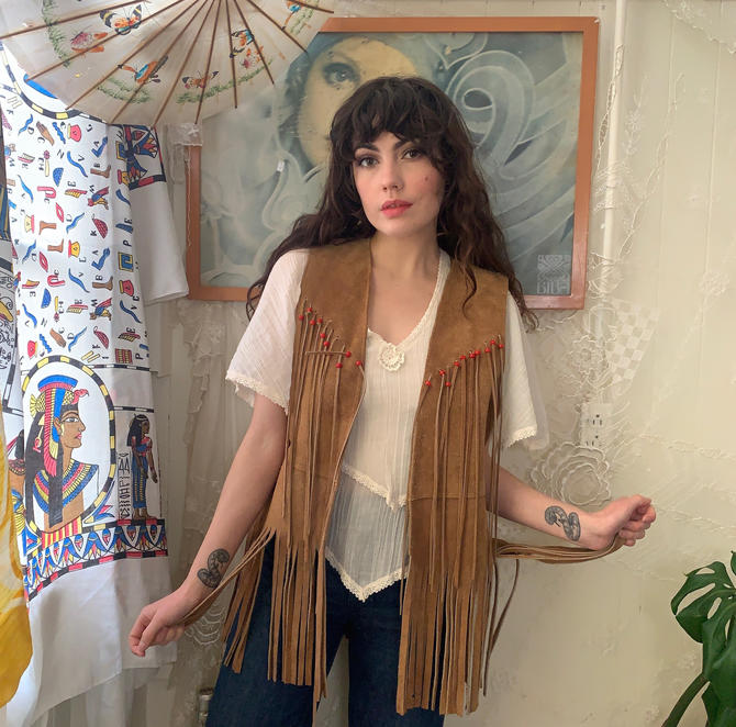 70's SUEDE FRINGE VEST - red beds - light brown - large by GlamItToHell