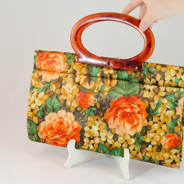 1960s / 1970s Shopping Hand Bag - Funky Floral 2 in 1 Bag that Snaps up or down for Adjustable Size by DomesticatedPinup