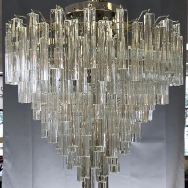 """Monumental Venini """"Prismi"""" Murano Glass Cascading Chandelier"""