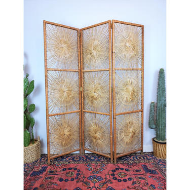 HIGHLY DESIREABLE Vintage Rattan Sunburst Screen | Boho Wicker Room Divider | MCM Panel Partition by SavageCactusCo