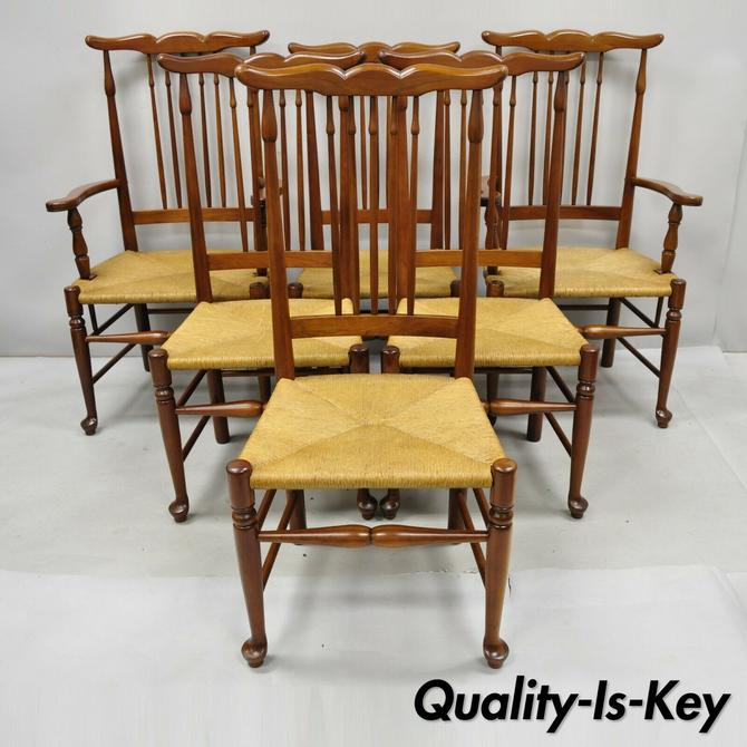 6 Vintage Spindle Back Cherry Wood Rush Seat Queen Anne Colonial Dining Chairs