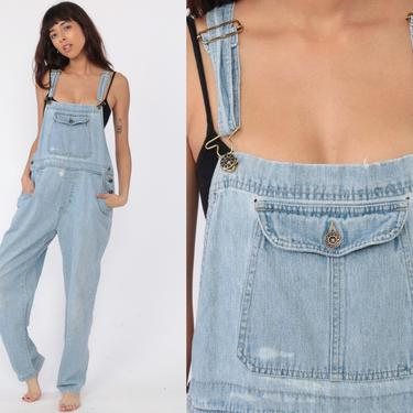 0955123682f9 90s Overalls Pants Bib 1990s Denim Pants Jean Dungarees Coveralls Long  Grunge Light Blue Distressed Vintage