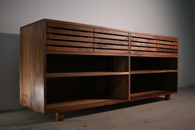 Bork Storage Bookcase, Modern Handcrafted Bookcase, Wood Bookshelf Sideboard, Wide Wood Bookcase (Shown in Walnut) by TomfooleryWood